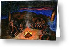 Cowboys Mountain Camp At Night Greeting Card