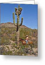 Cowgirl And The Crested Saguaro Greeting Card