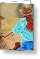 Cowgirl Roping Greeting Card