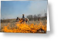 Cowgirl Watching Over Burn Greeting Card