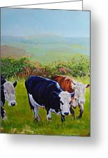 Cows And English Landscape Greeting Card