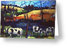 Cows In Landscape Greeting Card