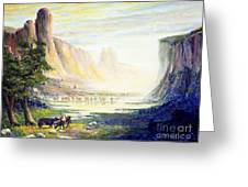 Cows In The Mountain Greeting Card