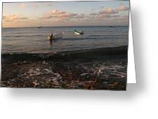 Cozumel Waterfront With Two Boats Greeting Card
