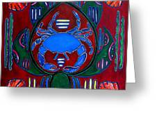 Crab Turtle Mola Greeting Card