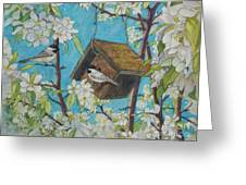 Crabapple Chickadees Greeting Card