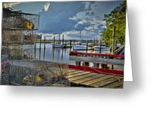 Crabpots And Fishing Boats Greeting Card