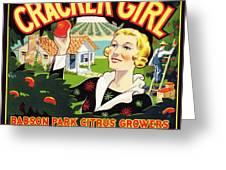 Cracker Girl Citrus Crate Label C. 1920 Greeting Card