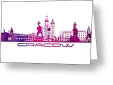 Cracow City Skyline Purple Greeting Card