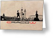 Cracow Skyline Black Greeting Card