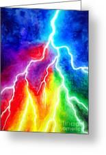 Rainbow Color Lightning Greeting Card