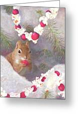 Cranberry Garlands Christmas Squirrel Greeting Card