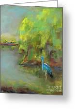 Crane At Golden Ponds Greeting Card