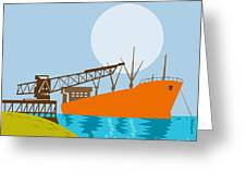 Crane Loading A Ship Greeting Card