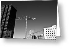 Cranes And Buildings Bw Greeting Card