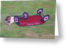 Crash Of The Radio Flyer Greeting Card