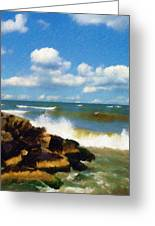 Crashing Into Shore Greeting Card