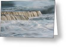Crashing Sea Waves And Small Waterfalls Greeting Card