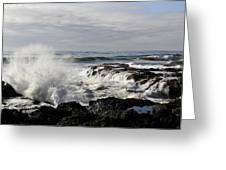 Crashing Waves At Cape Perpetua Greeting Card