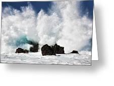 Crashing Waves At Laupahoehoe Point. Greeting Card
