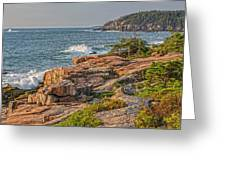 Crashing Waves At Otter Cliff Greeting Card