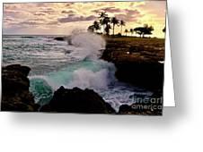 Crashing Waves At Sunset Greeting Card