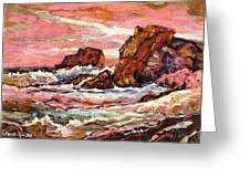 Crashing Waves At Sunset  Majestic Seascape Greeting Card
