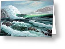 Crashing Waves Greeting Card by Lorraine Foster