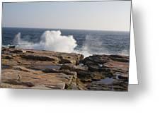 Crashing Waves On Maine Coast Rocks  Greeting Card
