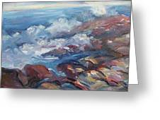 Crashing Waves On Rocks Greeting Card