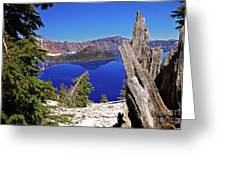 Crater Lake And Wizard Island Greeting Card