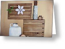 Crates With Flower Still Life Greeting Card