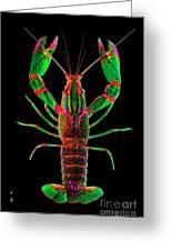 Crawfish In The Dark - Greenred Greeting Card