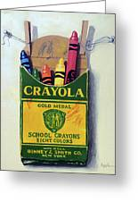 Box Of Crayons Painting Greeting Card