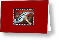 Crazy Fingers- Piano Keyboard - Bordered Greeting Card