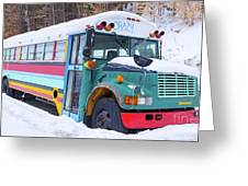Crazy Painted Old School Bus In The Snow Greeting Card