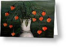 Crazy Red Flowers Greeting Card