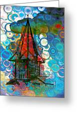 Crazy Red House In The Clouds Whimsy Greeting Card