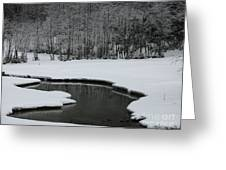 Creek In Snowy Landscape Greeting Card