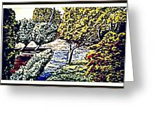 Creek In The Forest Framed Greeting Card