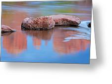 Creek Rocks With Cathedral Rock Reflection Greeting Card