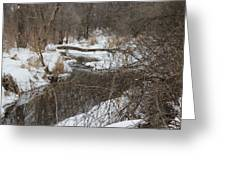 Creek Winding Through The Snow Greeting Card