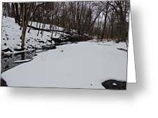 Creeks Battles The Snow And Cold To Remain Flowing. Greeting Card