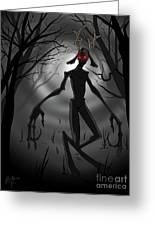 Creepy Nightmare Waiting In The Dark Forest Greeting Card