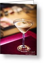 Creme Caramel Martini Cocktail In Bar Greeting Card