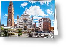 Cremona Market Square With Cathedral Greeting Card