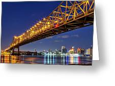 Crescent City Bridge, New Orleans, Version 2 Greeting Card