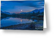 Crescent Moon Over Middle Lake In Bow Greeting Card
