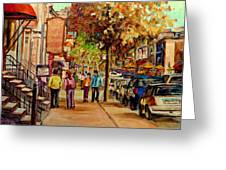 Crescent Street Montreal Greeting Card