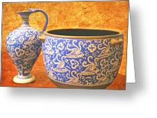 Crete Blue And Gold Jug And Bowl Greeting Card
